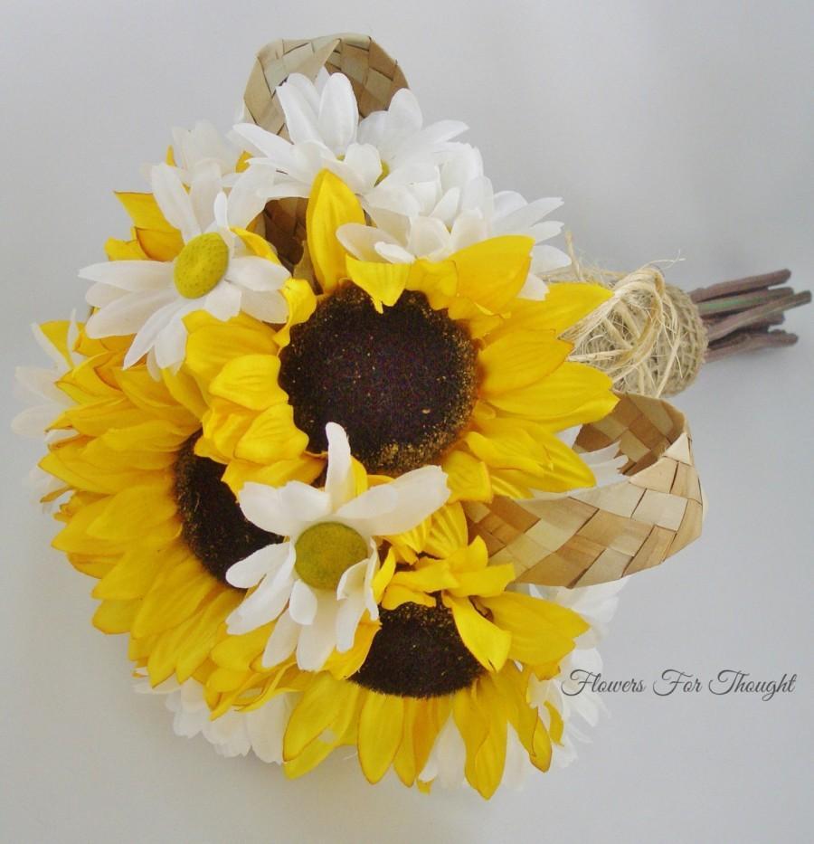Hochzeit - Sunflower Daisies Bouquet, FFT Original Design, Yellow White Silk Bridal Flowers Bride Accessory Woodland Rustic Wedding