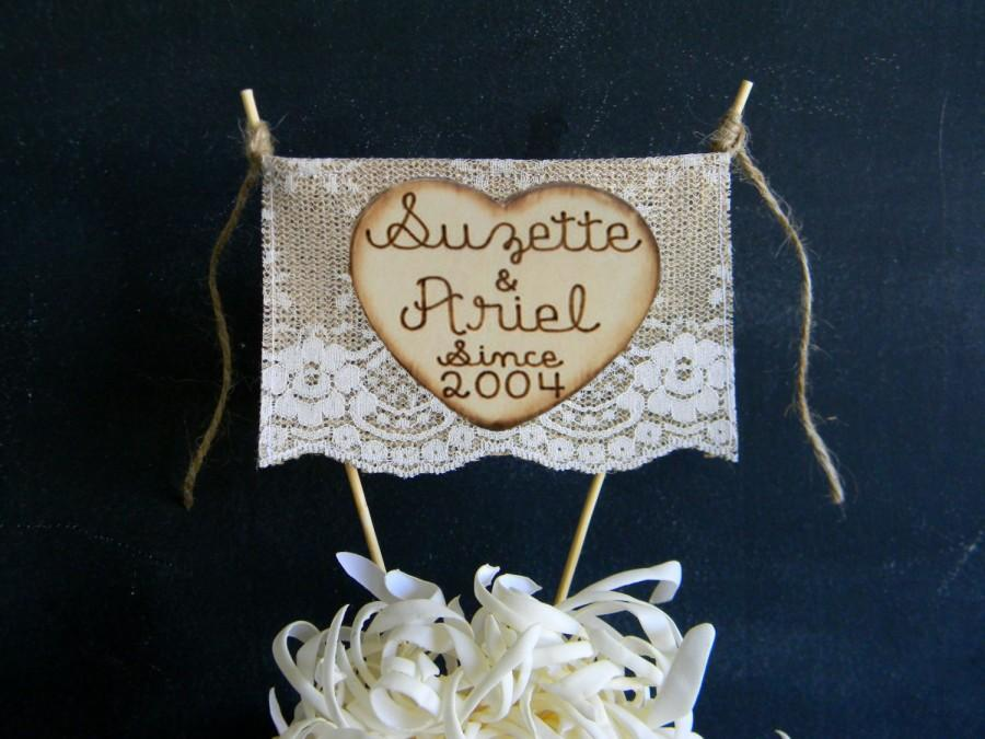 Свадьба - Burlap & Lace Cake Topper Wedding Anniversary Vow Renewal Bunting Flag Banner Rustic Country Shabby Chic