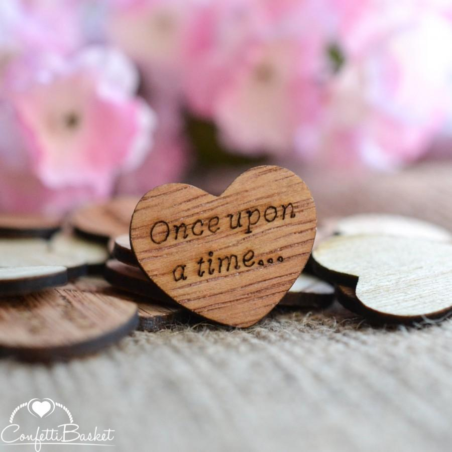 """Mariage - 100 Once upon a time... Wood Hearts 1"""" - Rustic Wedding Decor - Table Confetti - Wooden Hearts - Wedding Invitations"""