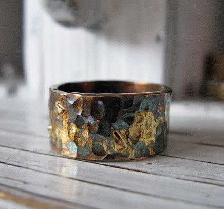 Wedding - Rustic Mens Wedding Band Oxidized Silver with Yellow Gold 10mm Width Hammered Texture Mens Wedding Ring or Commitment Ring