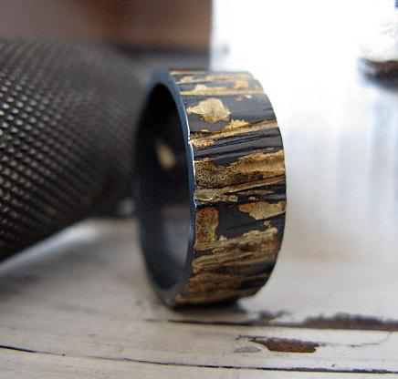 rustic mens wedding band unique mens wedding band mens wedding ring oxidized sterling silver gold 8mm bark texture artisan commitment ring - Mens Wedding Rings Unique