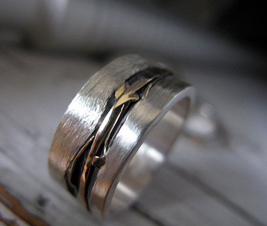 mens wedding band mens wedding ring silver gold ring landscape ring river ring unique ring commitment ring artisan size 10 in stock ring - Mens Wedding Rings Unique
