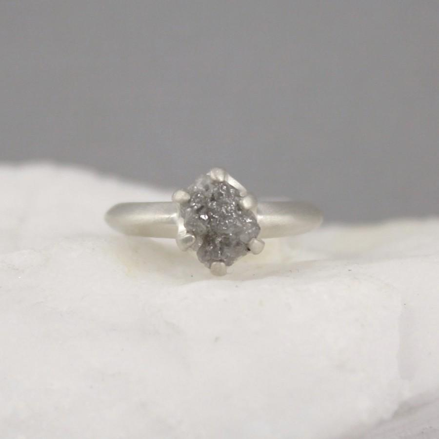 Raw Diamond Engagement Ring  Matte Texture Sterling Silver  Rough Uncut Conflict  Free Diamond  Engagement Rings  April Birthstone Ring