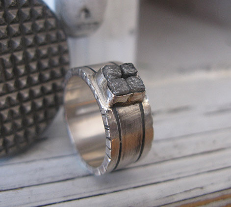 Rough Diamond Ring Size 9 Unique Ring Raw Diamond Ring Mens