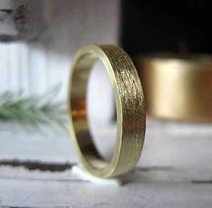زفاف - 18K Green Gold Mens Wedding Band Mens Wedding Ring Rustic Wedding Band Unique Wedding Ring Green Gold Band Flat Edge Size 10 In Stock