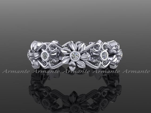زفاف - Floral Wedding Band, 14K White Gold Diamond Band, Wedding Ring,Engagement Ring, Right Had Ring. RE00026