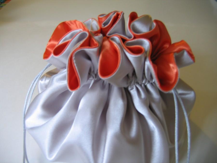 Mariage - Dollar Dance Wedding Bag Brides Bag Large Silver and Orange