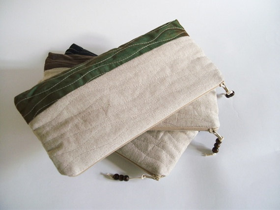 Свадьба - Rustic Wedding Clutch, Set of 3 Bags for Bridesmaids, Minimalist Green Purses, Wedding Wristlets