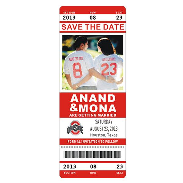 Hochzeit - Ohio State Custom NFL, NBA, NCAA or College Football & Basketball Sports Game Ticket Stub Save the Date Wedding Photo Magnet