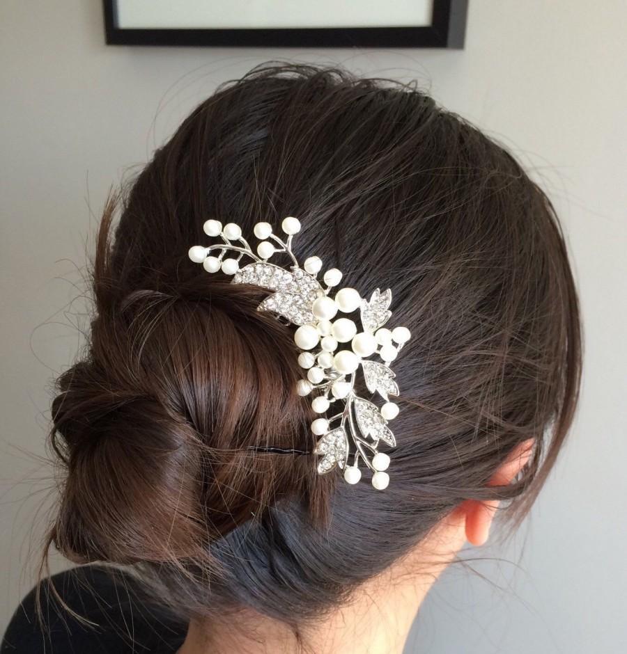 Hochzeit - Wedding hair comb, Pearl bridal hair comb, bridal hair accessories, wedding hair accessories, crystal hair comb, vintage comb,bridal jewelry