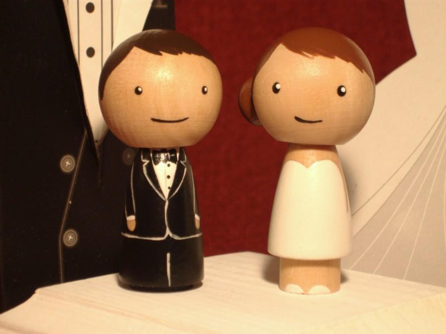 Wedding - Custom Kokeshi Wedding Cake Topper Tea Length Wedding Dress Short Dress Bride