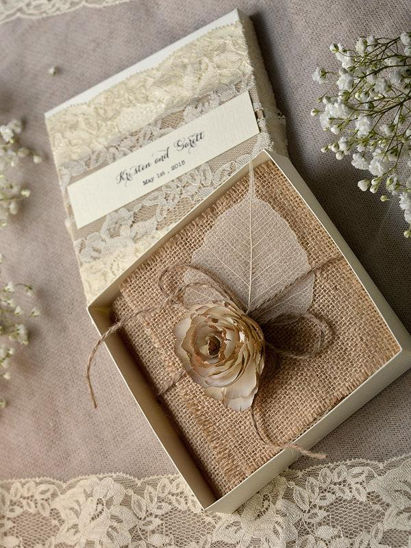 lace burlap wedding invitations 10 vintage wedding invitations rustic box wedding invitations rustic lace invitations wedding invites - Burlap Wedding Invitations