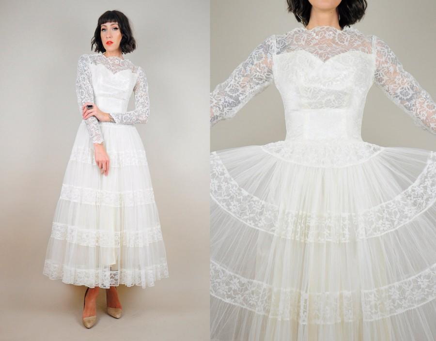 Wedding - 50's Lace & Tulle tea length Wedding Dress