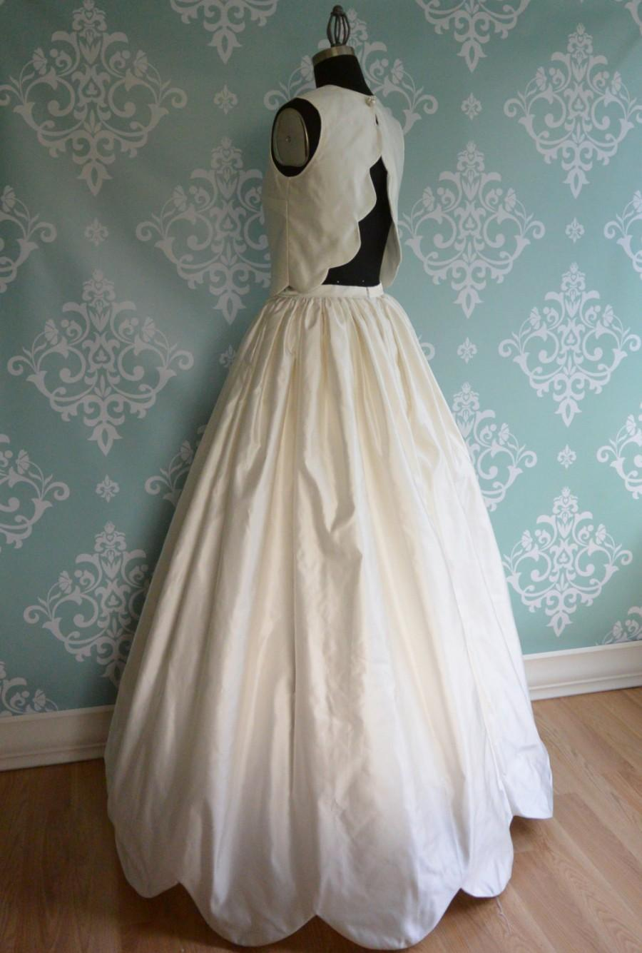 Boda - Crop Top Wedding Dress Two Piece, FORGET ME NOT, Silk Duchess Scallops