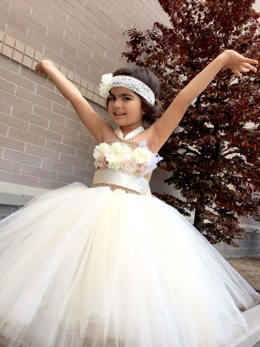 Wedding - Flower Girl Dress, Ivory Flower Girl Dress, Christening Dress, Christening Gown, Flower Girl Tutu, Flower Girl Dress tulle, First Birthday