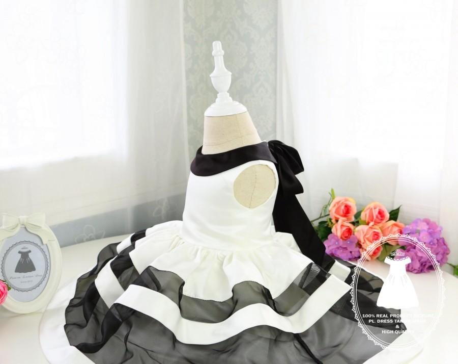 Basic Style Baby Party Dress With Black And White Stripes Toddler