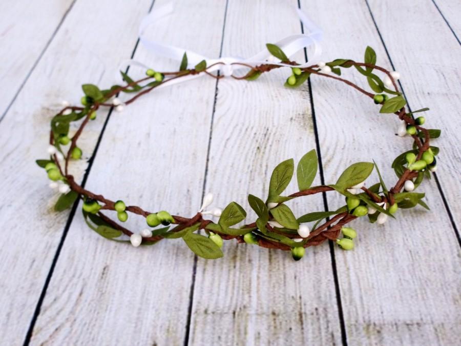 زفاف - Rustic wedding hair accessories, Bridal headpiece, Woodland hair wreath, White green crown, Leaf headband, Elegant halo