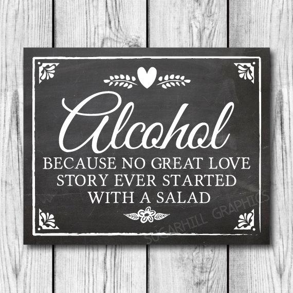 Wedding - Chalkboard Wedding Sign, Printable Wedding Sign, Chalkboard Wedding Alcohol Sign, Wedding Love Story, Wedding Decor, Instant Download
