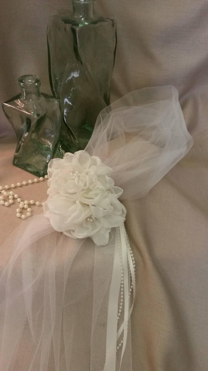 Mariage - RITA Headband  Veil  with  Handmade Flowers
