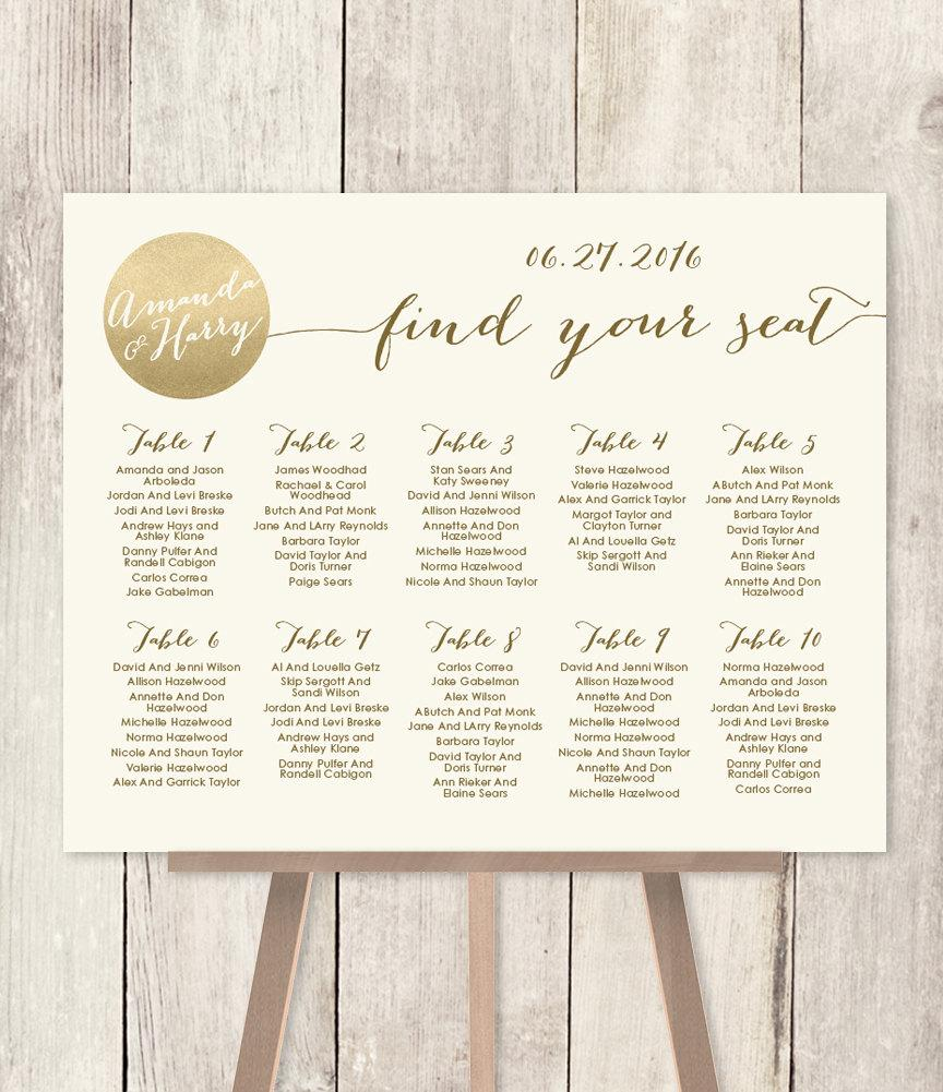Wedding Seating Chart Sign Diy Gold Sparkle Metallic And Cream Find Your Seat Printable Pdf Customized
