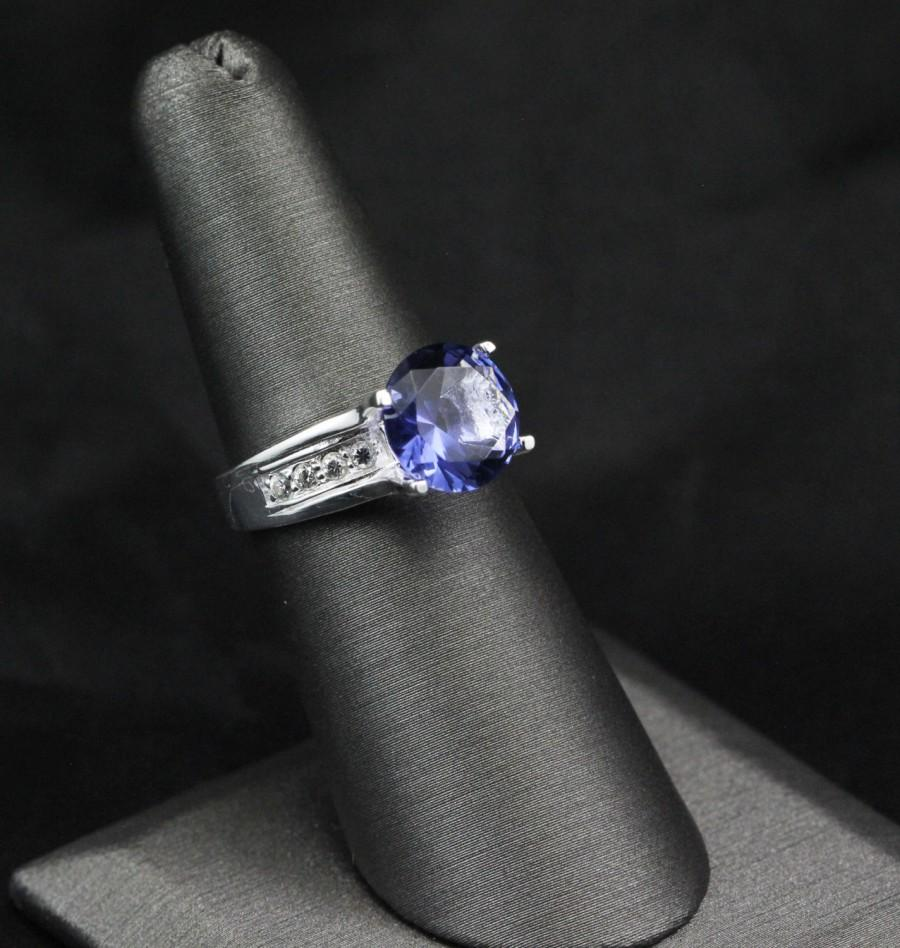 زفاف - 3.95 Carat Round Blue Tanzanite CZ Russian Diamond CZ Solid 925 Sterling Silver Solitaire Accent Wedding Engagement Anniversary Ring Gift