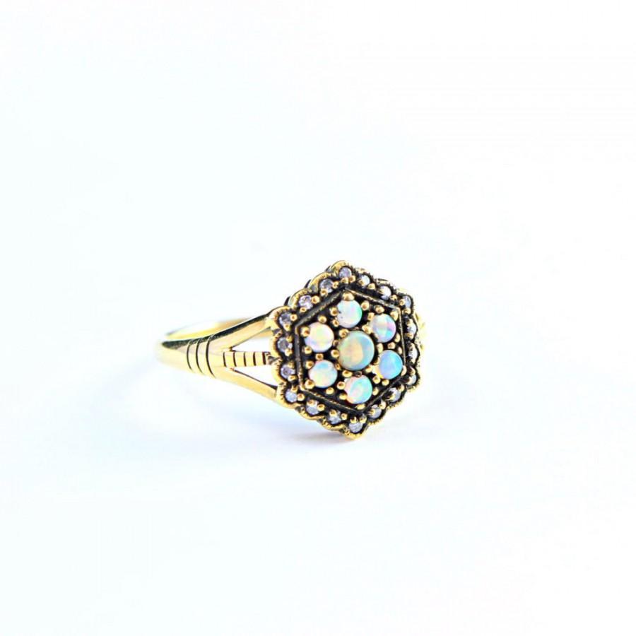 زفاف - Opal and Diamond  ring set in 9 carat gold handmade for her