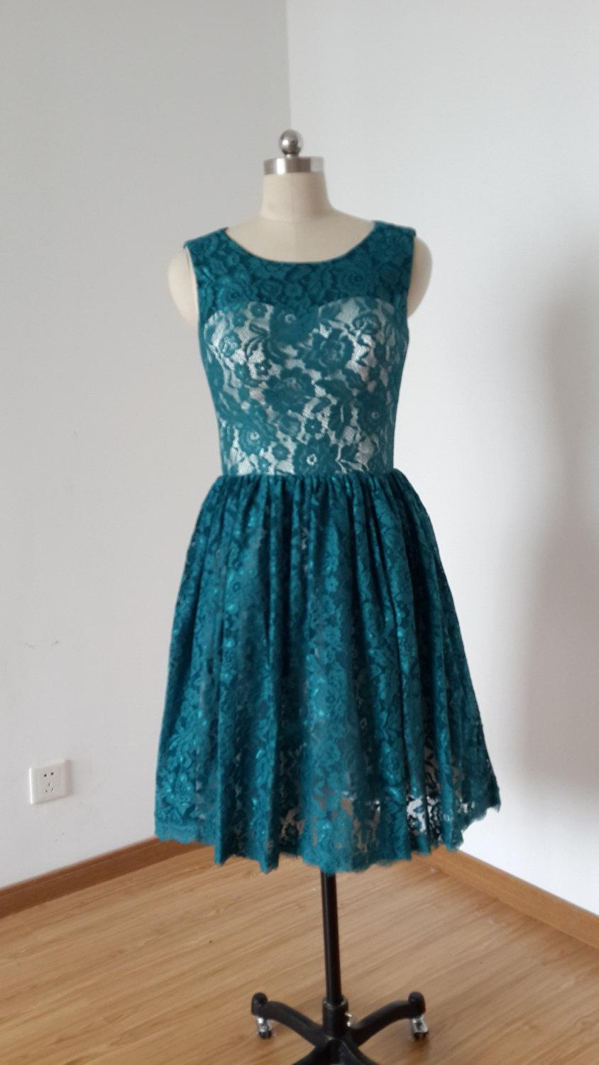 2015 Scoop Dark Teal Lace Champagne Lining Short Bridesmaid Dress ...