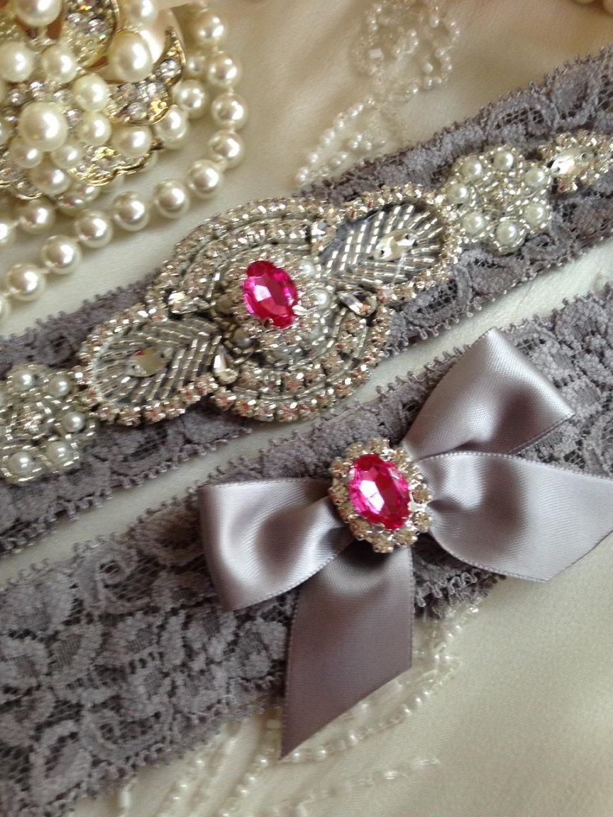 SALE YOU CHOOSE Wedding Garter Gray Lace Set Hot Pink Rhinestone Vintage Applique Grey Ivory Bridal