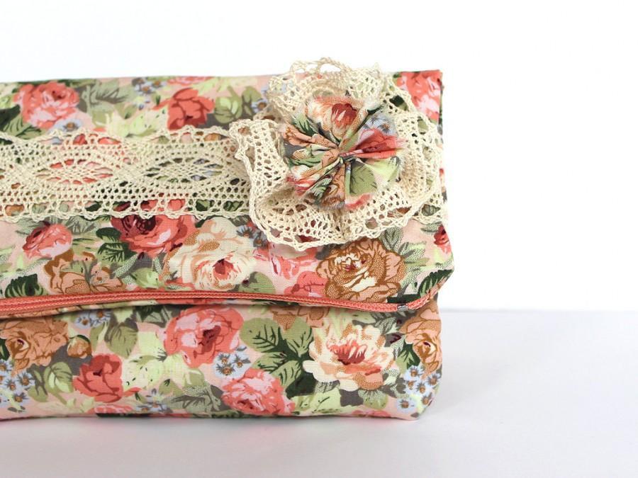 Mariage - Floral bridesmaid clutch Fold over clutch Flower bag Pastel bridesmaid Lace purse Spring wedding Bridesmaid bag Shabby chic clutch Pink bag