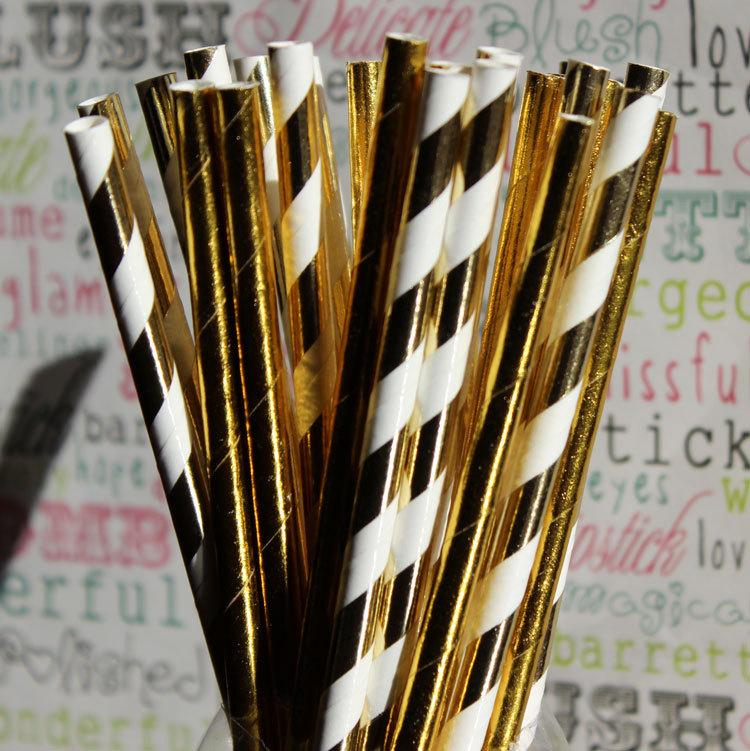 Mariage - Gold Foil Striped Party Straws, Gold Foil Wedding Straws, Gold Foil Party Straws