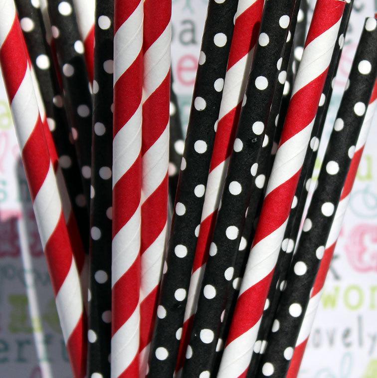 Свадьба - 50 Red and Black BIrthday Party Straws, Mickey Mouse Birthday Straws, Pirate Party Straws, Ladybug Straws