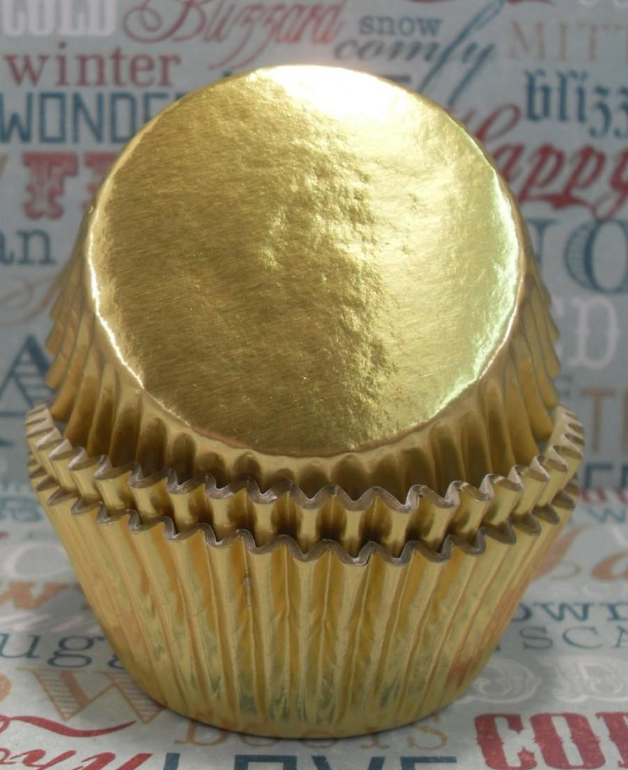 Свадьба - 100 Gold Foil Cupcake Liners,  Gold Foil Baking Cups - Professional Grade and Greaseproof