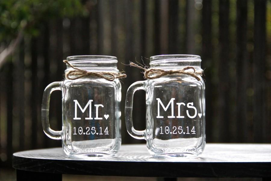 Mariage - Mr. and Mrs. Mason Jar Mug Set, Mason Jars, Mason Jar Mug Set, Weddings