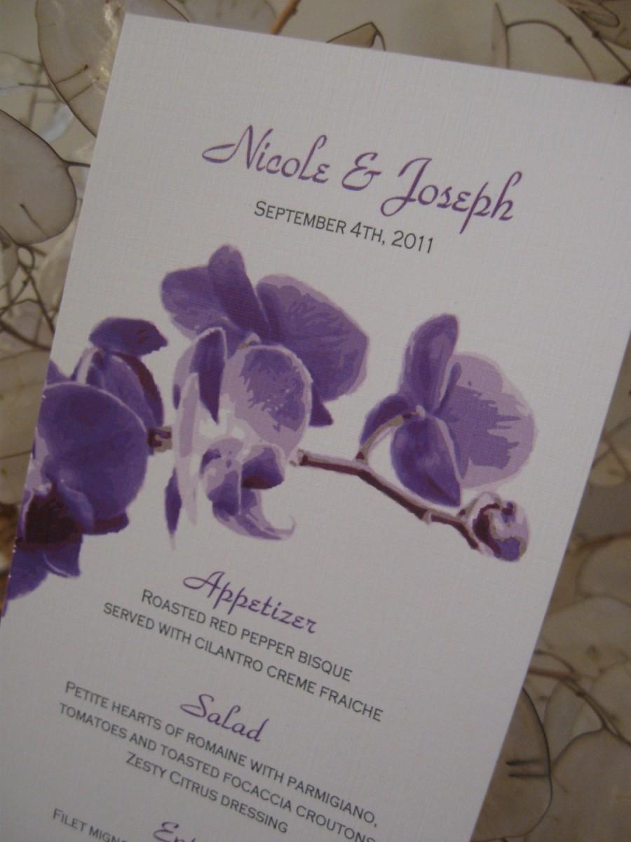 Свадьба - Simple Orchid Wedding Menu - Custom Design & Printed