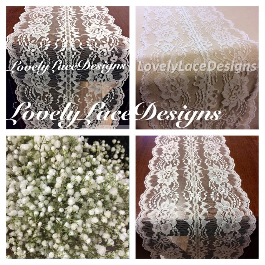 Mariage - Ivory Lace Table Runner /5ft-10ft x 7.5in Wide /Lace Table Overlay/Weddings/Ivory/ Etsy finds/Rustic Weddings/Christmas Runner/Hostess gift