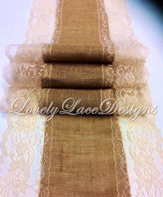 Свадьба - Burlap Table Runner/5ft-10ft x 13in Wide/ Natural Lace/Wedding Decor/Weddings/home Decor/rustic weddings
