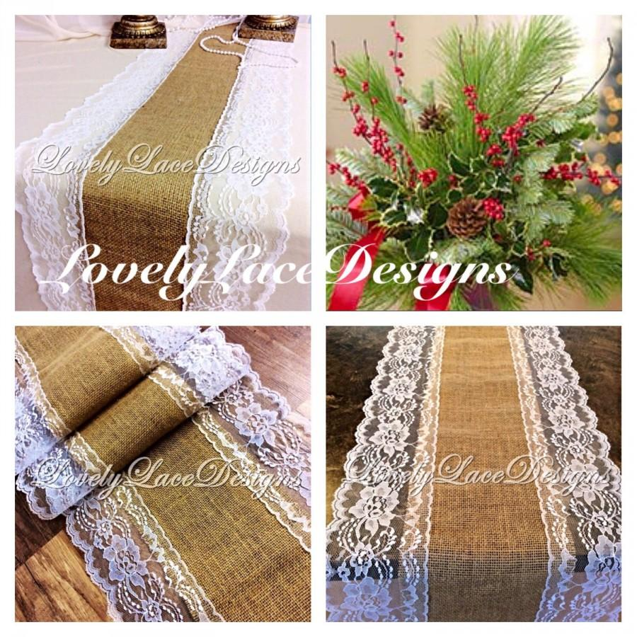 Mariage - CHRISTMAS DECOR Burlap Lace Table Runner White Lace, 4ft-10ft long x 13in Wide/Wedding Decor, White Weddings/Holiday gift