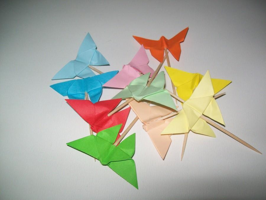 Свадьба - Wedding origami butterfly cupcake topper, Set of 50 butterfly cupcake topper,origami butterfly, wedding origami, cupcake topper, butterflies