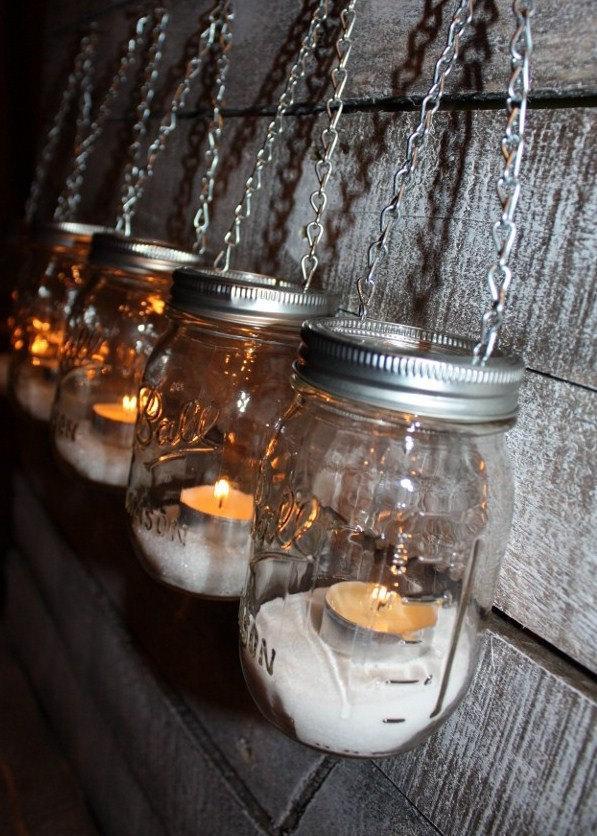 Mariage - FREE SHIP 6 Hanging Outdoor Garden Light Mason Jar Lantern Luminaries, DIY Flower Vase Hangers or Candle Jar Silver Chain Lids