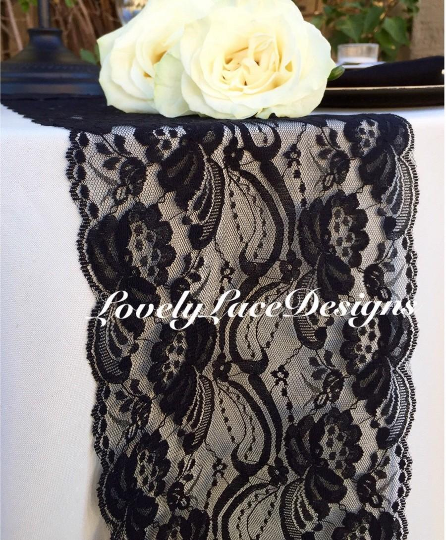 "Mariage - WEDDING DECOR/Black Lace Table Runner/7"" wide x12ft-20ft long/Wedding Decor/Black weddings/Party Decor/Etsy finds/Ends Not Sewn"