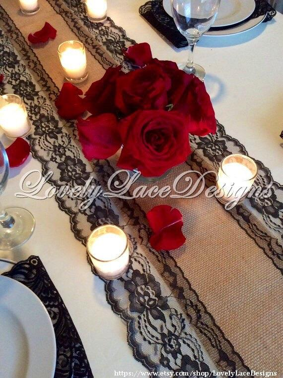 Burlap Lace Runner 12ft20ft Wedding Table Runner With Black Lace