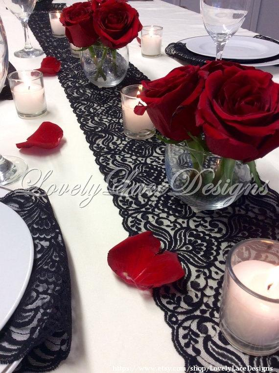 Lace table runner 12ft 20ft x 7in wide black wedding for 12 ft table runner