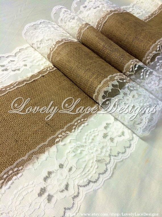 Burlap Table Runner 5ft 10ft X13in Wide White Silver Lace Weddings Wedding Decor Home Gift