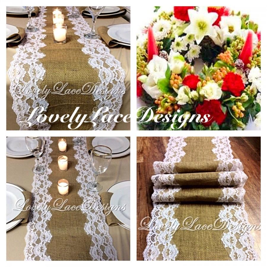 CHRISTMAS Table Runner/ Burlap U0026 White Lace, 5ft 10ft X 12in Wide/ Wedding  Decor/Tabletop Decor/Hostess Gift/Holiday Table Decoration