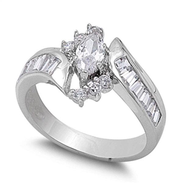 زفاف - 1.30 Carat Marquise Cut Baguette Round Russian Diamond CZ Bypass Solid 925 Sterling Silver Brilliant Sparkle Cubic Zirconia Wedding Ring