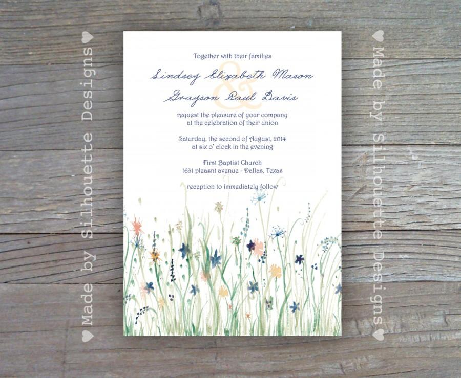 Wedding Bridal Shower Invitation Blue And Yellow Wildflowers Digital Printable File Or Professionally Printed Cards