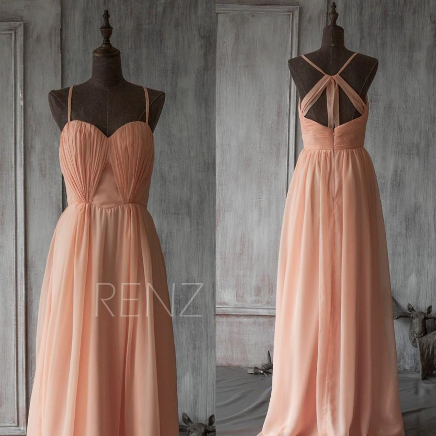 2017 Long Peach Bridesmaid Dress Blush Sweetheart Wedding Party Formal Elegant F130