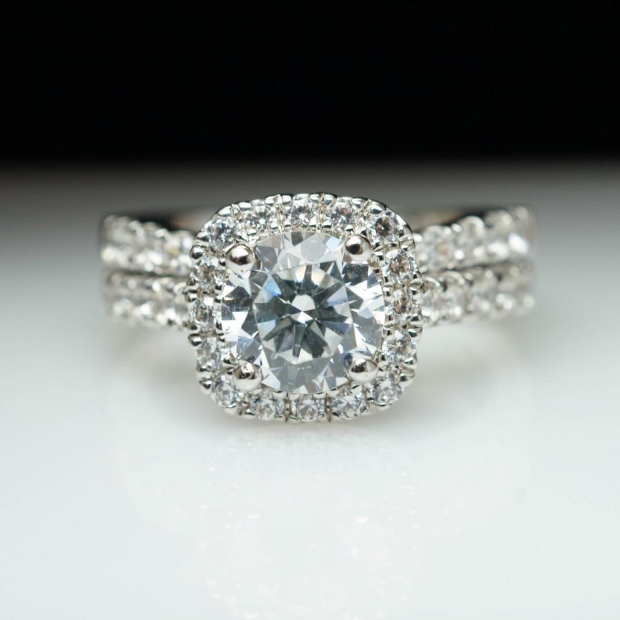Halo Engagement Ring With Matching Wedding Band