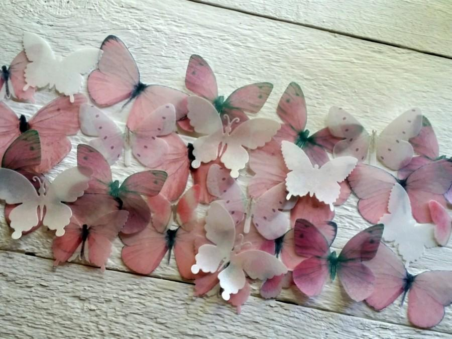 Mariage - Edible Butterfly Pastel Pink and White  Cake decorations Cupcake toppers Set of 30