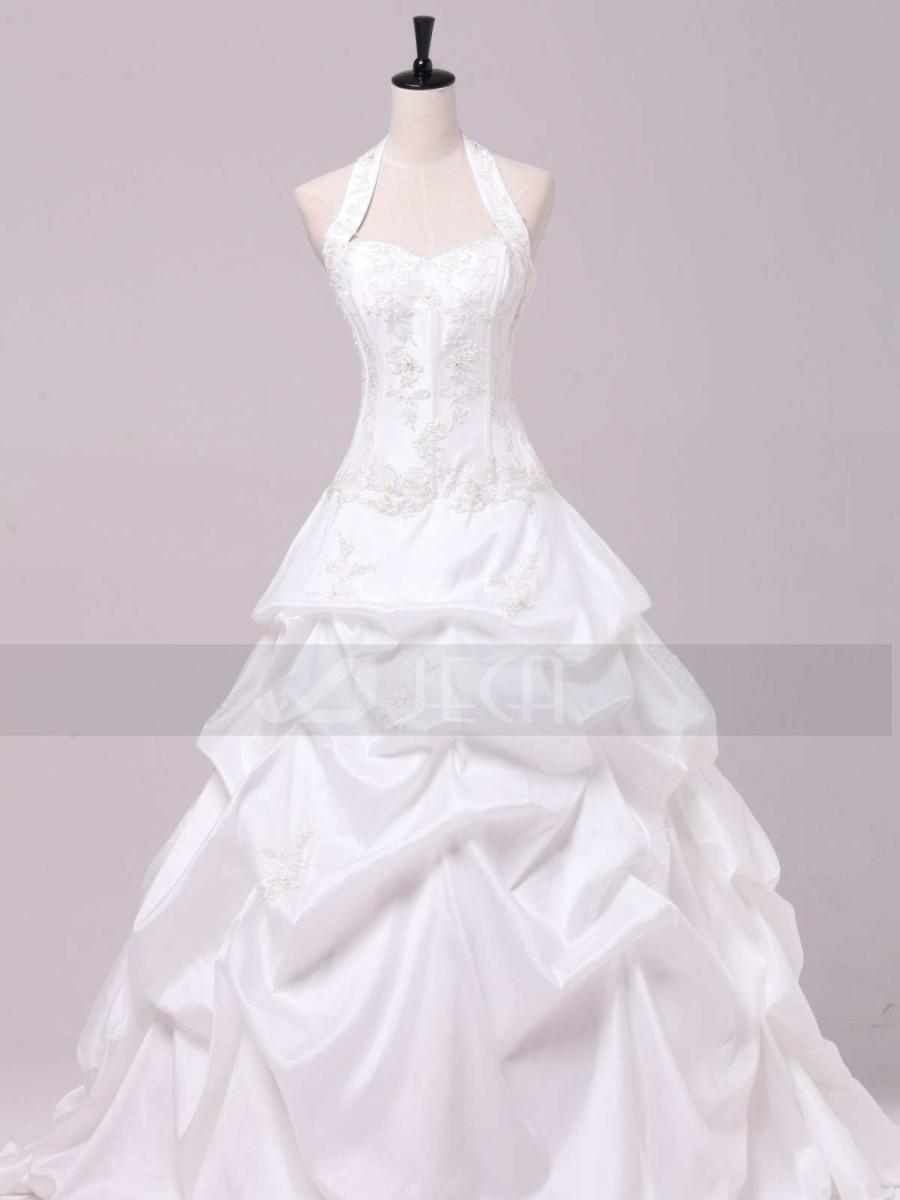 Halter Neckline Taffeta Ball Gown Available In Plus Sizes 2432716